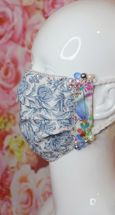 Baby blue and white Liberty print Swarovski beaded facemask