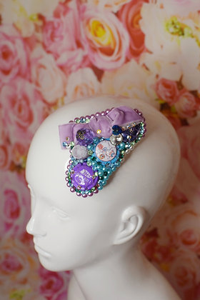 Magic pastel pearl champagne hairclip with velvet bow  &  Swarovski