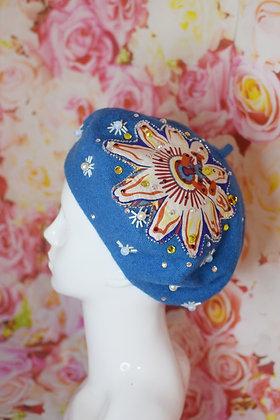 Blue flower moonstone Swarovski crystals beret