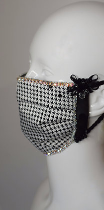 Black white bows silk houndstooth facemask with Swarovski crystals