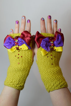 Yellow hand-knitted fingerless gloves with bows & Swarovski crystals