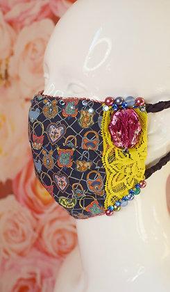 Love locks and yellow lace, beaded Swarovski crystals  Liberty print facemask