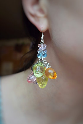 Rainbow fruits, sweets & lucky four leaf clover statement earrings