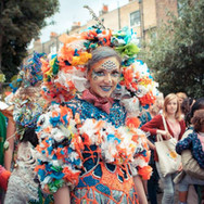 Welcoming guests actress Ruby wore an outfit Anna made from hundreds of plastic bags