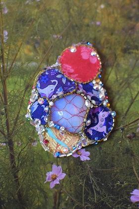 Moonstone and Liberty print silk Swarovski crystals hairclip