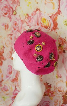 Pink champagne & gold stars beret with Swarovski crystals