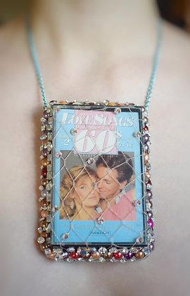 Vintage tape cassette pastel Swarovski crystals necklace