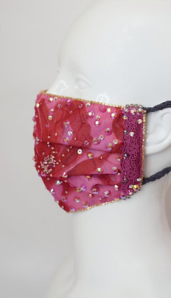 Extra sparkly hot pink Liberty silk glam facemask
