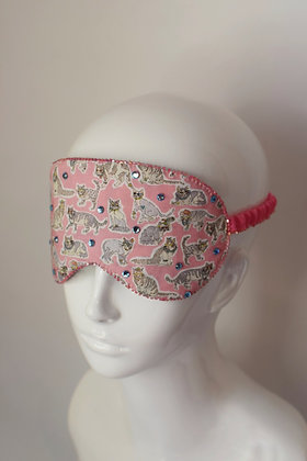 Fashion cats pink Liberty print & velvet Swarovski sleep eyemask