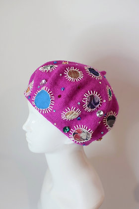 Fushia & applique dots beaded glam beret