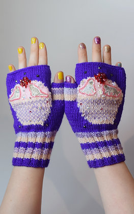 Cupcakes and cool cats fingerless gloves with Swarovski crystals