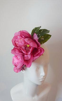 Pink peony flower hairclip headpiece with Swarovski crystals
