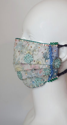 Mint floral lace and Liberty silk luxurious bridal / glam facemask