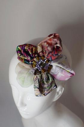 Silk & Liberty print Swarovski crystals tiger eye flower hairclip