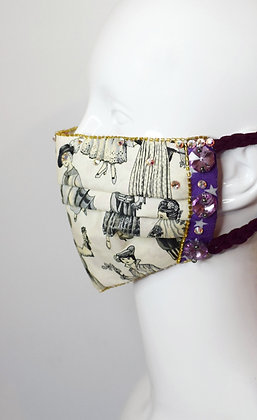 Fashion history and lilac crystals Swarovski facemask