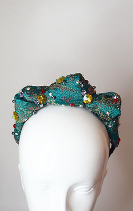 Emerald green vintage satin & Swarovski crystals 3 knot headband headpiece
