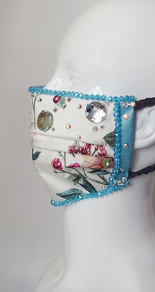 Luxurious floral Liberty silk, Swarovski & gems glam facemask