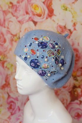 Baby blue Liberty print applique beret with pearl beads and Swarovski