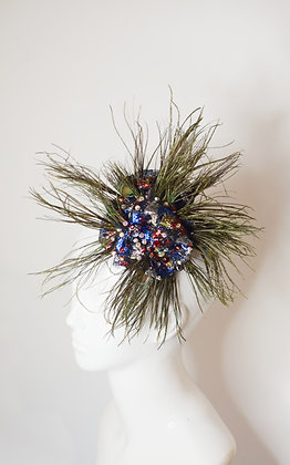 Pracock feather, Swarovski, lame lace flower fascinator/ hairclip