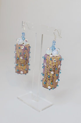 Moonstone & Blue beads wine corks earrings with Swarovski crystals