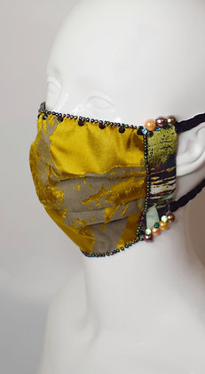 Gold devore facemask with pearl beads and Swarovski crystals