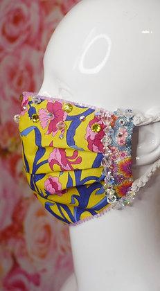 Yellow & pink Liberty print Swarovski crystals glam facemask
