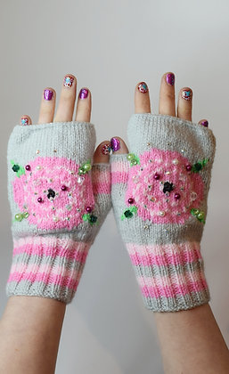 Pink roses hand-knitted fingerless gloves beaded, pearls, Swarovski crystals