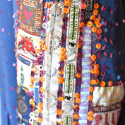 Close-up of sleeve embroidery.