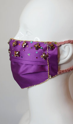 Luxurious Liberty silk and Swarovski crystals glam facemask
