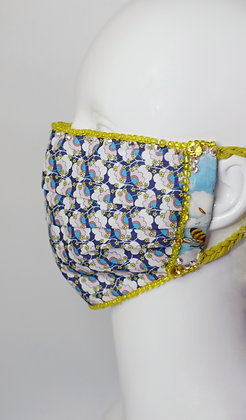 Flowers and Bees Liberty print facemask with Swarovski crystals