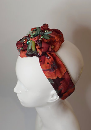 Red flower rose headband headpiece with jade and Swarovski crystals