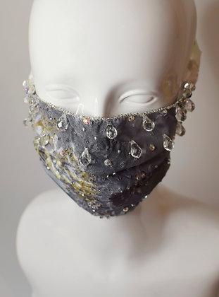 Grey raindrops crystals glam / bridal facemask