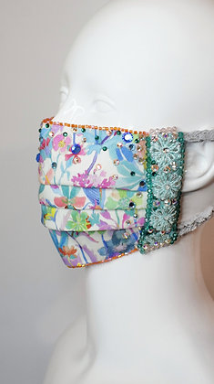 Rainbow pastel floral Liberty print bridal / glam facemask