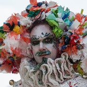 A headpiece made from plastic bags for an actor Frank Alba.