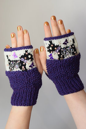 Cute dog purple butterflies fingerless gloves, huge Swarovski crystals