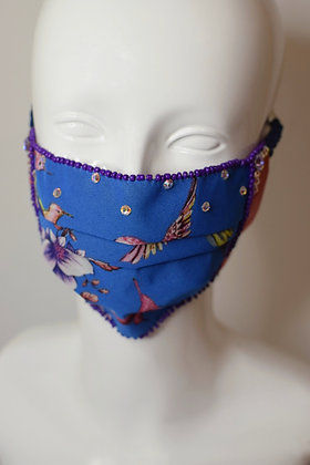 Hummingbird print facemask with Swarovski crystals and cotton lining