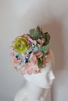 Pink and green flowers and tiara detail glam headpiece fascinator