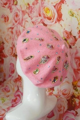 Baby pink Liberty print flamingos birds flowers applique beret with Swarovski