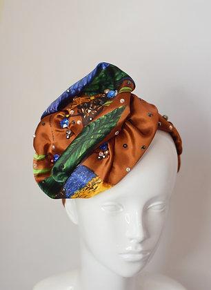 Australian birds scarf headband with Swarovski crystals and beafs