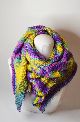 Hand-knitted triangle rainbow scarf / shawl beaded, Swarovski crystals, pearls