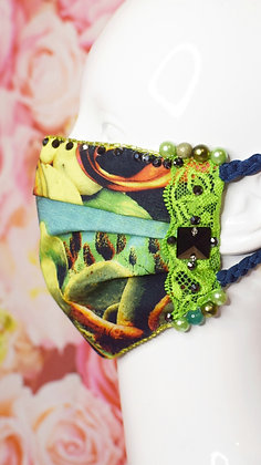 Cactus & Italy green lace facemask with Swarovski crystals, Liberty print lining