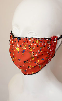 Red floral Liberty print facemask, cotton lining, velvet, Swarovski crystals