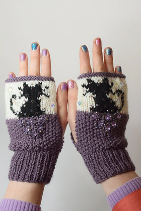 Black cats hand-knitted fingerless gloves with huge purple Swarovski crystals
