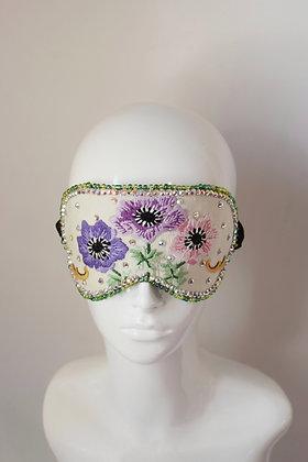 Embroidered silk Swarovski crystals sleep travel eyemask