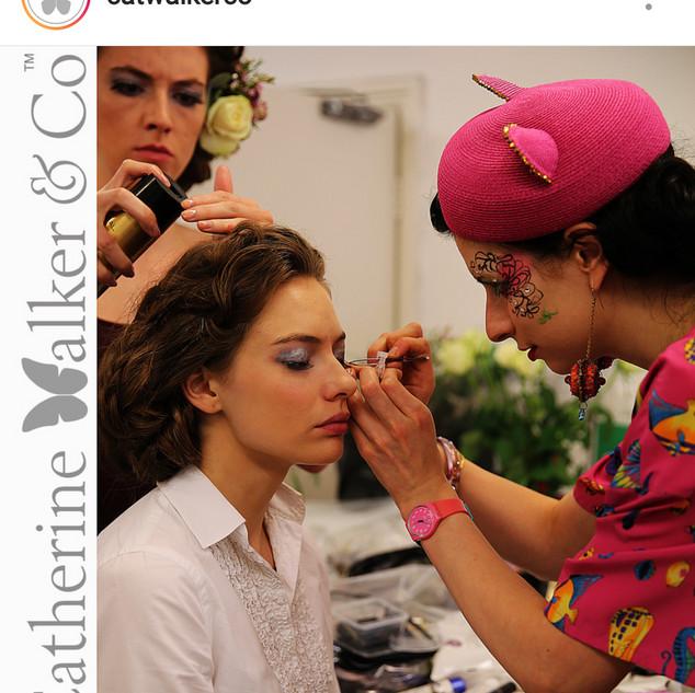 Make-up in progress featured on Catherine Walker Instagram.
