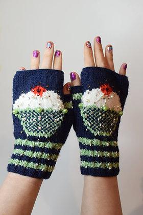Cupcakes hand-knitted  fingerless gloves beaded, Swarovski crystals