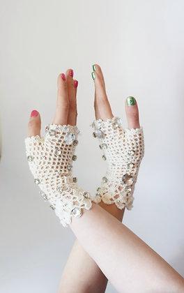 White crochet glam fingerless gloves with Swarovski crystals & vintage gems
