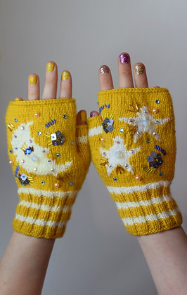 Moon, stars and moonstone yellow fingerless gloves
