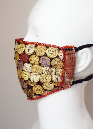 Wine corks & Liberty print cotton facemask with Swarovski crystals