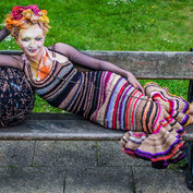 Photo by Jason Wen of the tights dress auctioned off for Age Uk with The Tights Ball artwork, supported by Arts Council England with artist Lenka Horakova and Platform-7 events.